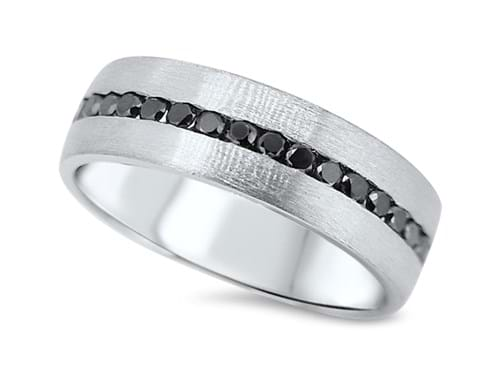 Black Diamond Textured Wedding Band