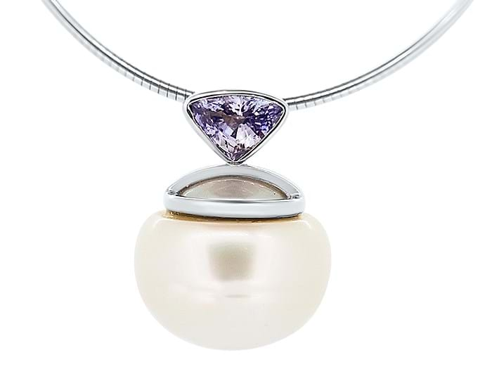 Ceylon Sapphire and South Sea Pearl Pendant