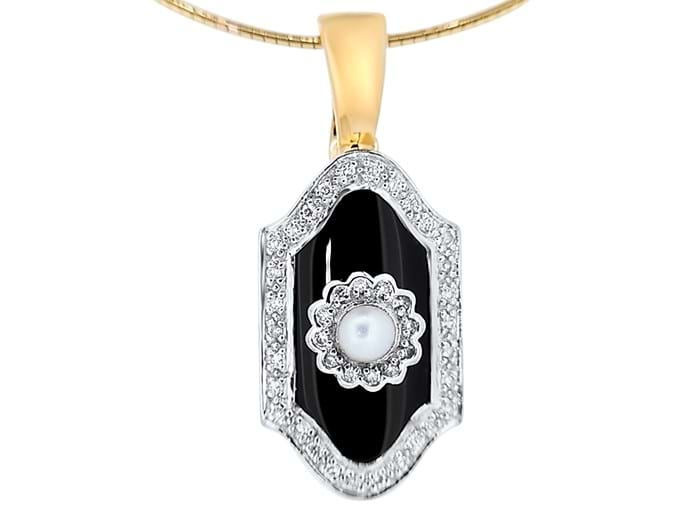 Onyx, Pearl and Diamond Pendant