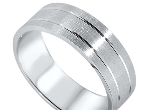 Textured and Engraved Wedding Band