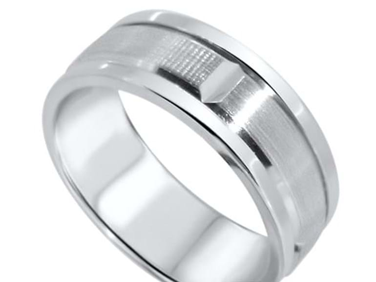 Textured and Engraved Wedding Ring