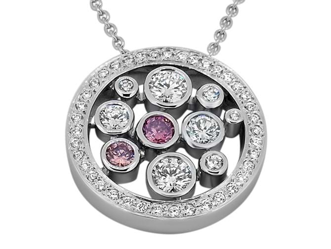 Pink & White Diamond White Gold Pendant